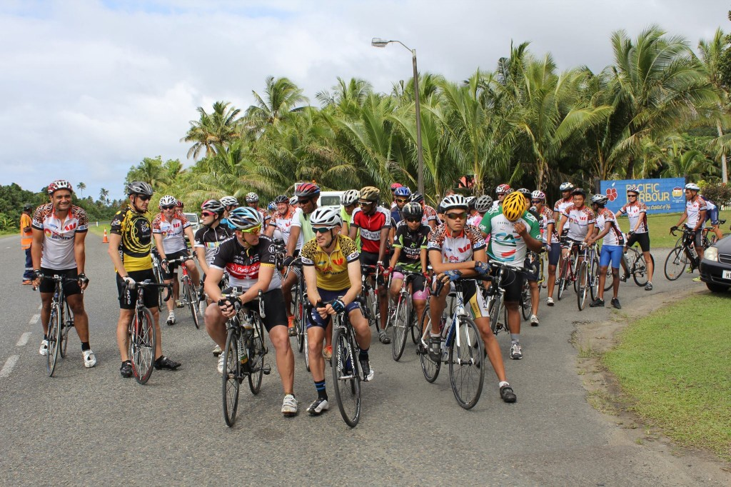 Ready for start of Stage 5 from Pacific Harbour to Lami